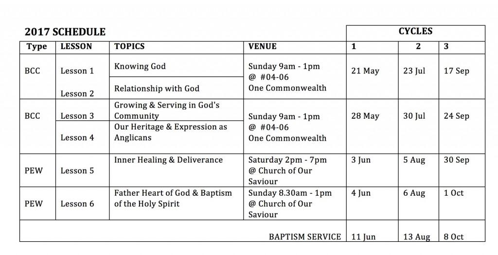 BCC 2017 Schedule