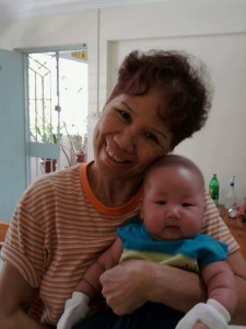 Mdm. Chang and her nephew.