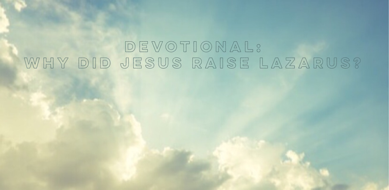 Devotiona- Why did Jesus raise Lazarus?